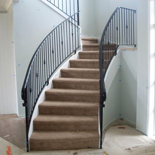 Curved wrought iron balustrade