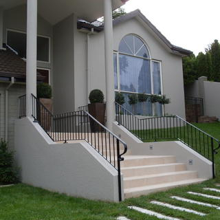 Wrought iron balustrade on staircase